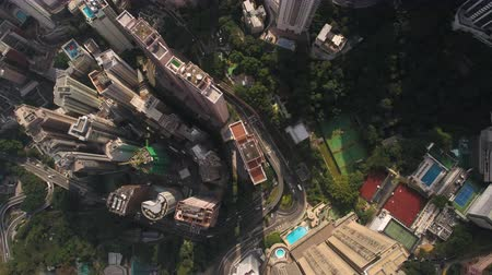 hubschrauber : Hong Kong Aerial v3 fliegt über Central District vertikal nach unten. Videos