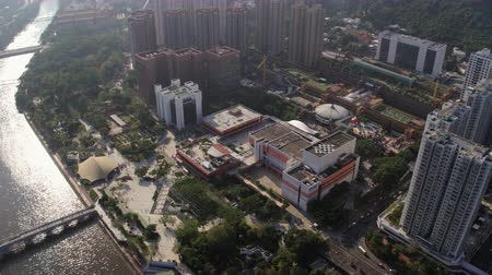 площадь : Hong Kong Aerial v20 Flying around Sha Tin Central Park and Town Hall area panning.