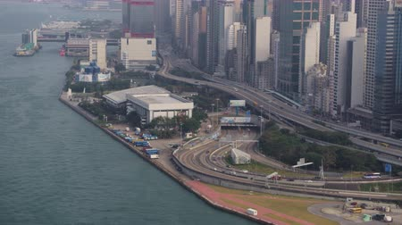 feribot : Hong Kong Aerial v43 Closeup view of Western Harbour Crossing tunnel entrance and cityscape. 217