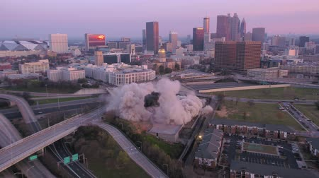 no ramp : Atlanta Aerial v241 Flying low around old archives building while it is imploded at sunrise 3517