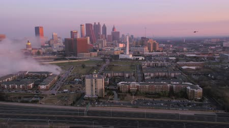 no ramp : Atlanta Aerial v242 Flying low around old archives building just after implosion at sunrise 3517 Stock Footage