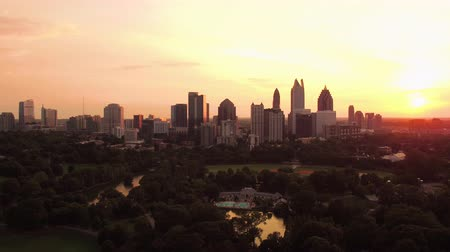 atlanta : Atlanta Aerial v244 Flying low over Piedmont park with cityscape views at sunset
