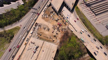 államközi : Atlanta Aerial v281 Birdseye view flying low over freeway bridge collapse 417