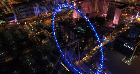 las vegas boulevard : Las Vegas Aerial v40 Flying over and around High Roller ferris wheel at night 417