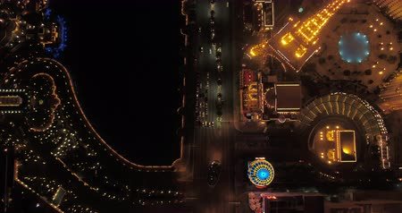 bellagio : Las Vegas Aerial v41 Flying over main strip blvd looking down vertically at night 417