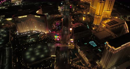 las vegas boulevard : Las Vegas Aerial v42 Flying over main strip blvd looking down vertically panning up at night 417