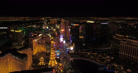 bellagio : Las Vegas Aerial v43 Flying over main strip blvd at night with panoramic views 417 Stock Footage