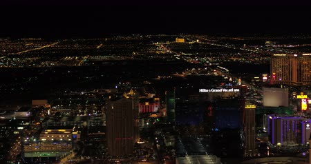 hilton : Las Vegas Aerial v44 Flying over main strip area at night with panoramic views 417