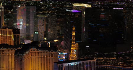 las vegas boulevard : Las Vegas Aerial v45 Flying over main strip area at night with panoramic views 417 Stock Footage