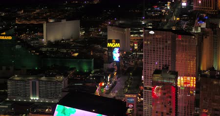 mandalay bay : Las Vegas Aerial v47 Flying over main strip area at night with panoramic views 417