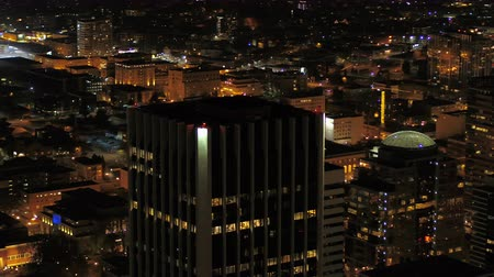 низкий : Portland Aerial v96 Flying around downtown with cityscape views at night 417