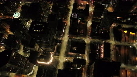 birdseye : Seattle Aerial v89 Vertical birdseye view flying over downtown at night 417 Stock Footage