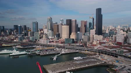 ferry terminal : Seattle Aerial v92 Flying low over shipyard area with cityscape views 417 Stock Footage