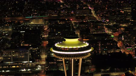 tű : Seattle Aerial v104 Closeup shot flying around Space Needle at night 417