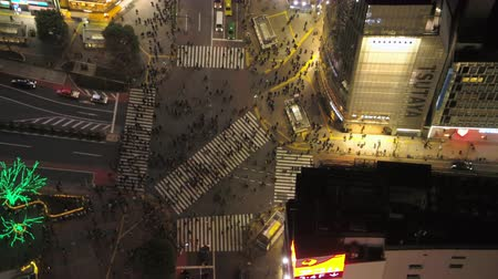 tokyo station : Japan Tokyo Aerial v20 Vertical birdseye view flying low over famous Shibuya intersection crossing night 217