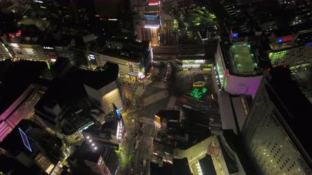 tokyo station : Japan Tokyo Aerial v23 Birdseye view flying around famous Shibuya intersection area night 217