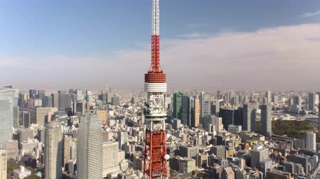 chuo city : Japan Tokyo Aerial v35 Flying low around Tokyo tower with cityscape views