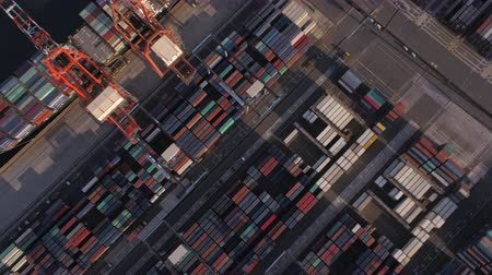 tesisler : Japan Tokyo Aerial v43 Vertical birdseye view flying over shipyard area panning 217