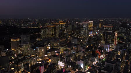 ginza : Japan Tokyo Aerial v47 Flying low over downtown Chuo area with cityscape views night 217