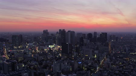 tokyo government : Japan Tokyo Aerial v64 Flying over Shinjuku area panning with cityscape views at dusk 217 Stock Footage