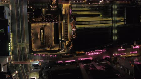 looking down : Japan Tokyo Aerial v87 Vertical birdseye view over Shinjuku station at night 217