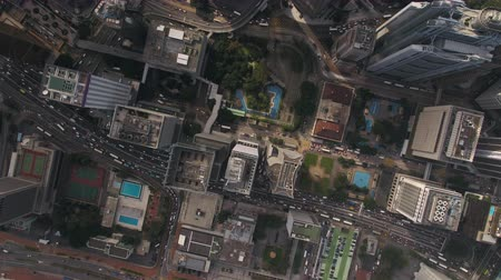 склон холма : Hong Kong Aerial v55 Flying over Central District looking down vertically 217
