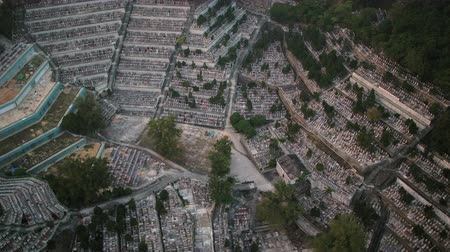 sacred site : Hong Kong Aerial v102 Birdseye view flying low over St Raphael Cemetery panning
