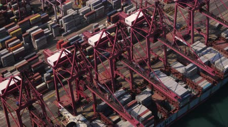 ithalat : Hong Kong Aerial v107 Closeup birdseye view around and over large cargo ship unloading 217