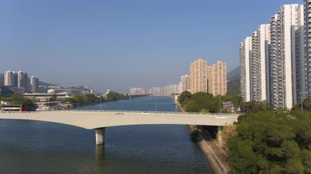 низкий : Hong Kong Aerial v119 Flying low over along Shing Mum River in Sha Tin area