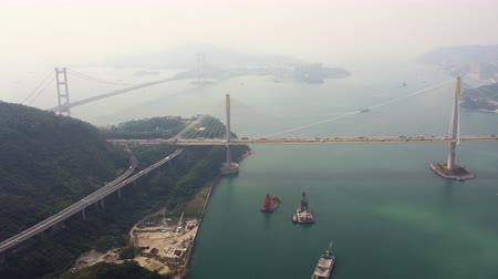 palmo : Hong Kong Aerial v161 Flying low towards Ting Kau Bridge