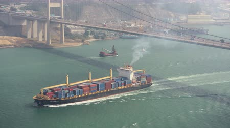 palmo : Hong Kong Aerial v219 Flying low around Tsing Ma Bridge with cargo ship passing by 217 Vídeos