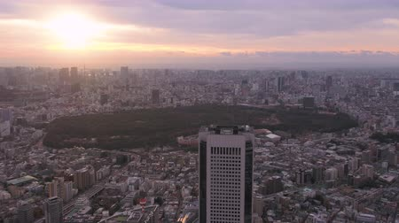 tokyo government : Japan Tokyo Aerial v114 Flying over Shinjuku area with cityscape views at sunriseÊ