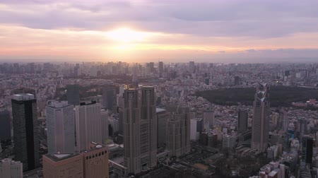 tokyo government : Japan Tokyo Aerial v115 Flying over Shinjuku area with cityscape views at sunriseÊ