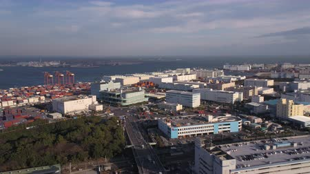 ithalat : Japan Tokyo Aerial v130 Flying low over shipyard area with industrial views 217