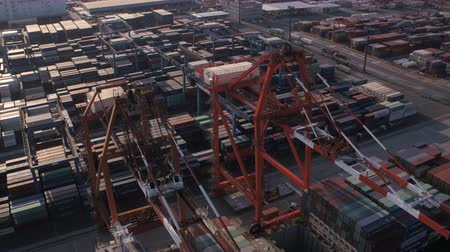 tesisler : Japan Tokyo Aerial v133 Closeup birdseye view flying low over large container ship unloading 217