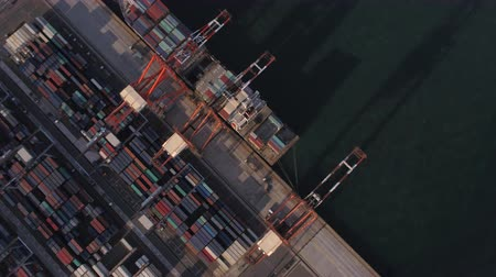 tesisler : Japan Tokyo Aerial v136 Vertical birdseye view flying over shipyard area panning Stok Video