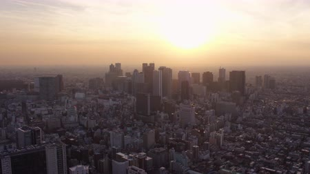 tokyo government : Japan Tokyo Aerial v152 Flying over Shinjuku area towards downtown cityscape views sunset