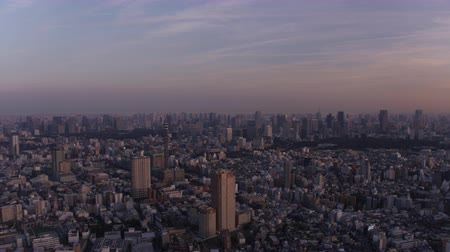 tokyo government : Japan Tokyo Aerial v155 Flying over Shinjuku area panning downtown cityscape views sunset Stock Footage