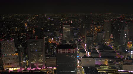 tokyo government : Japan Tokyo Aerial v171 Flying over downtown Shinjuku area with cityscape views night 217 Stock Footage