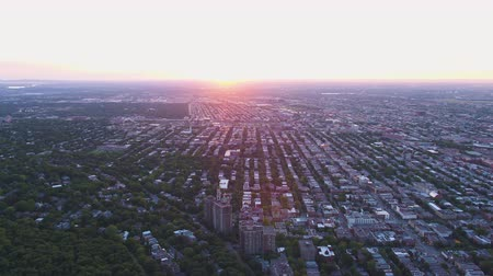 fennsík : Montreal Quebec Aerial v91 Flying over Mount Royal park panning with sunset views