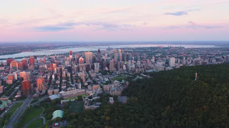 склон холма : Montreal Quebec Aerial v92 Flying across Mount Royal park at sunset with cityscape views Стоковые видеозаписи