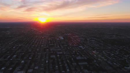 сумерки : Montreal Quebec Aerial v94 Flying over downtown panning with sunset views