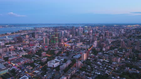 Montreal Quebec Aerial v102 Flying over downtown panning at dusk with cityscape views Stok Video
