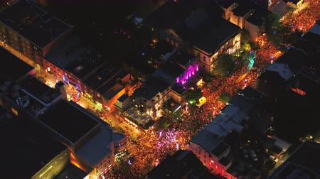 birdseye : Montreal Quebec Aerial v107 Birdseye view flying low around summer street festival downtown at night 717 Stock Footage