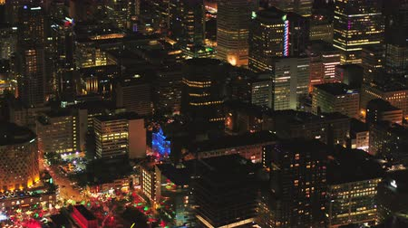 Montreal Quebec Aerial v109 Birdseye view flying low around summer festival downtown at night