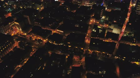 Montreal Quebec Aerial v113 Flying over downtown waterfront area panning up cityscape views night Stok Video