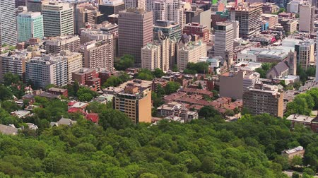 Montreal Quebec Aerial v118 Birdseye flying across Mount Royal park with downtown and cityscape views