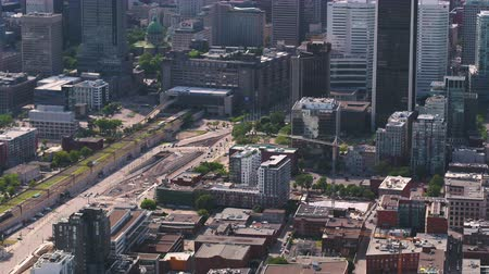 Montreal Quebec Aerial v122 Birdseye view flying low over downtown buildings 717