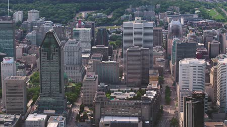 Montreal Quebec Aerial v124 Birdseye view flying low over downtown buildings 717