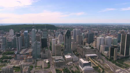 Montreal Quebec Aerial v128 Flying over downtown panning with cityscape views 717